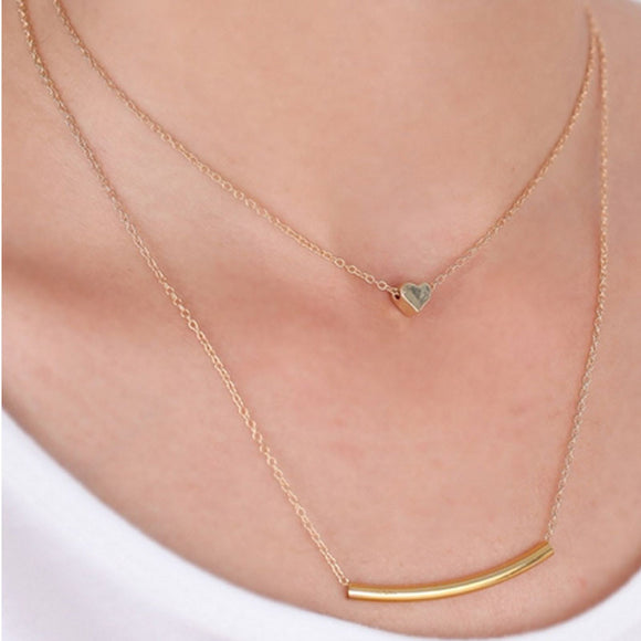 Women's Vintage Gold Multilayered Heart Pendant Necklace