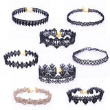8 Pieces Choker Necklace Set Stretch Velvet Classic Gothic Tattoo Lace Choker - Roseandjoy