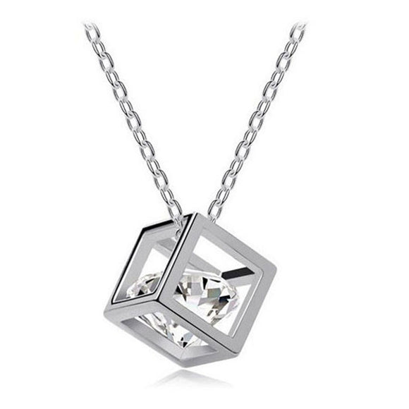 Women's Crystal, Rhinestone Square Necklace - Roseandjoy