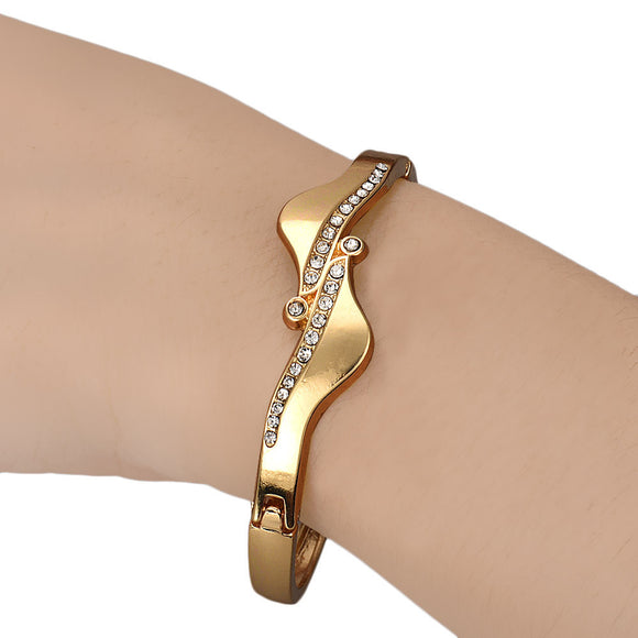 Asymmetric Crystal Bracelet Bangle - Roseandjoy