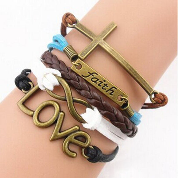 Handmade Adjustable Cross Faith Heart Love Multilayer Bracelet Wristband - Roseandjoy