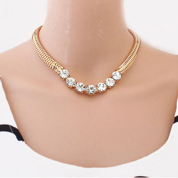 Gold Plate Rhinestones Necklace - Roseandjoy