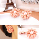 Women Lady Lovely Daisy Flower Pearl Stud Earrings Ornament Decoration - Roseandjoy