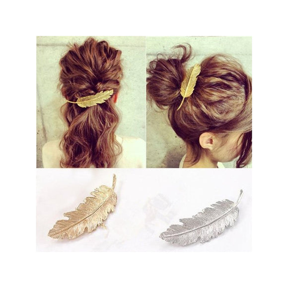 2 Pieces Leaf / Feather Shaped Hair Clips, Pin Claw Hair Accessory - Roseandjoy