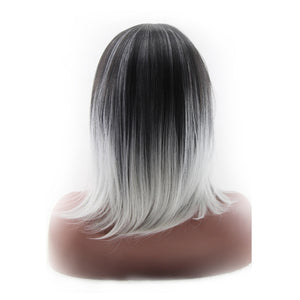 Synthetic Shoulder Length wig, Straight Women's Ombre' 2 Tones Dark Roots - Roseandjoy