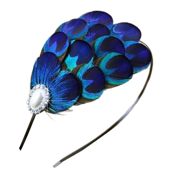 Hand-Made Vintage  Peacock Feather Hair Clasp Wedding Bridal Hair Clasp - Roseandjoy