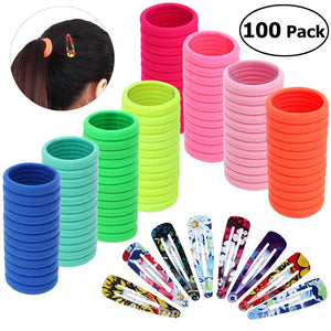 100 Pieces High Elasticity Ponytail Holders plus 20 pieces Flower Printed Snap Hair Clips - Roseandjoy