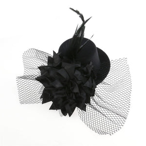 Women's Flower Decor Hair Clip Feather Fascinator - Roseandjoy