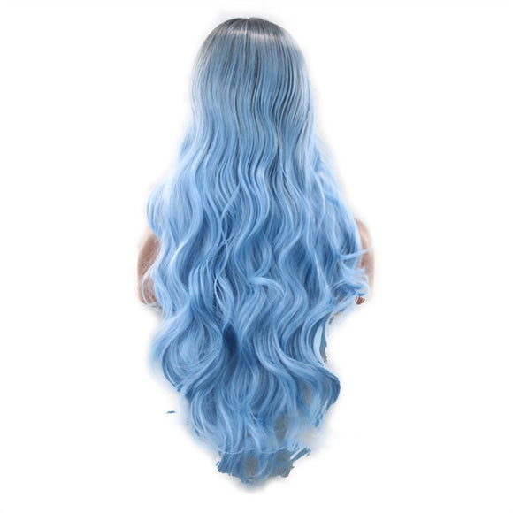 Black and Sky blue Long Curly Ombre' Synthetic Wig - Roseandjoy