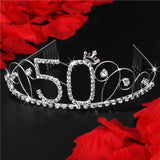 Birthday Rhinestone Tiaras for 50th, 40th, 30th and 18th Birthdays - Roseandjoy