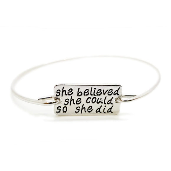'SHE BELIEVED SHE COULD SO SHE DID' Slogan Bangle - Roseandjoy