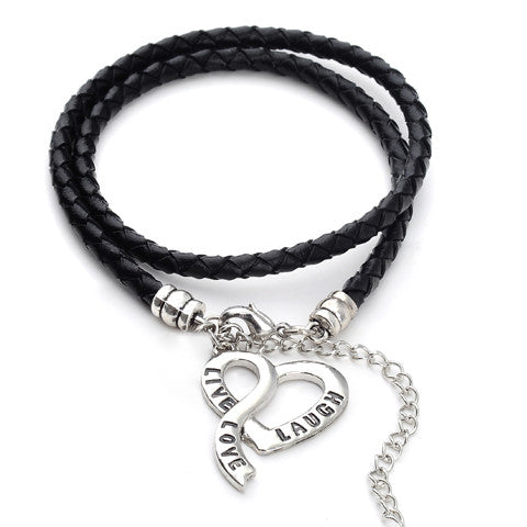 Vegan Leather - Live, Love & Laugh Bracelet