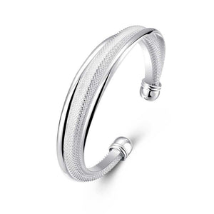 Double Layered Mesh Bangle in 18K White Gold Plated - Roseandjoy