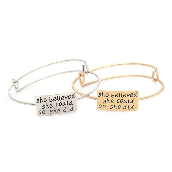 'She Believed she could so she did' Adjustable Bangle - Roseandjoy