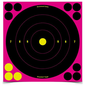 BIRCHWOOD CASEY SHOOT N C 8 PINK BULLS-EYE TARGET 6 PACK -  - Mansfield Hunting & Fishing - Products to prepare for Corona Virus