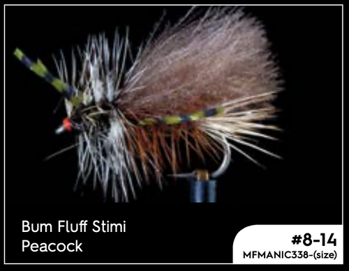 MANIC BUM FLUFF STIMI PEACOCK #10 -  - Mansfield Hunting & Fishing - Products to prepare for Corona Virus