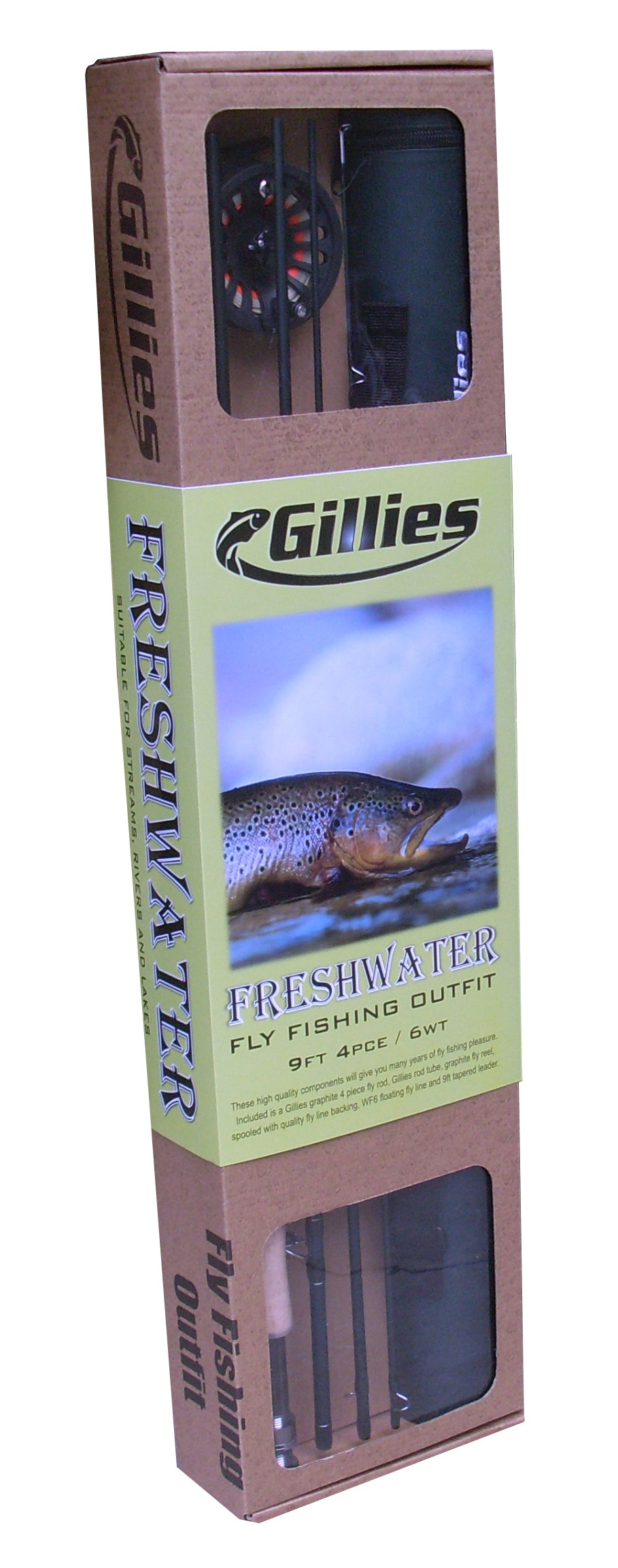 GILLIES FRESHWATER FLY FISHING OUTFIT 6WT 9FT 4PCE