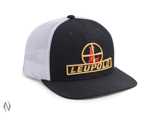 LEUPOLD TRUCKER HAT BLACK/WHITE -  - Mansfield Hunting & Fishing - Products to prepare for Corona Virus