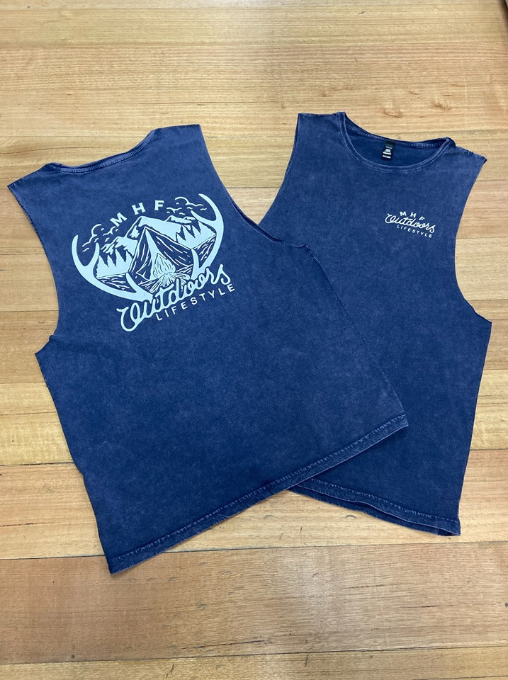 MHF ANTLER SINGLET - ACID WASH DENIM - S / ACID WASH DENIM - Mansfield Hunting & Fishing - Products to prepare for Corona Virus