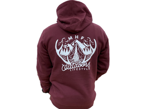 MHF ANTLER HOODIE BURGUNDY - XS - Mansfield Hunting & Fishing - Products to prepare for Corona Virus