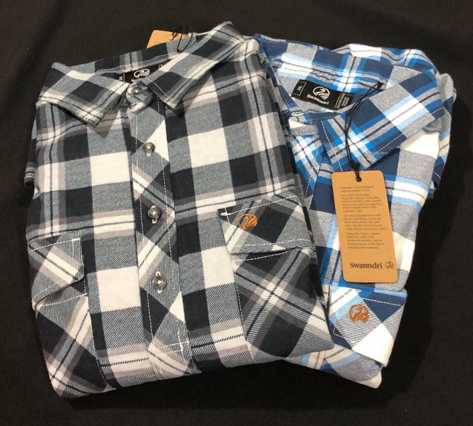 SWANNDRI FULL BUTTON EGMONT FLANNLETTE SHIRT - TWIN PACK - S / BLUE/CHARCOAL - Mansfield Hunting & Fishing - Products to prepare for Corona Virus