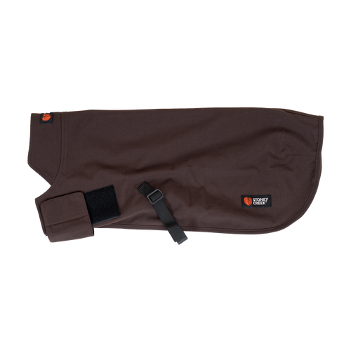 STONEY CREEK WATERPROOF DOG COAT - BURWOOD/BLACK - S - Mansfield Hunting & Fishing - Products to prepare for Corona Virus