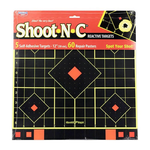 BIRCHWOOD CASEY SHOOT N C 12 SIGHT IN TARGET 5 PACK -  - Mansfield Hunting & Fishing - Products to prepare for Corona Virus