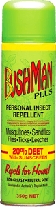 BUSHMANS PLUS INSECT SPRAY CAN 50G -  - Mansfield Hunting & Fishing - Products to prepare for Corona Virus