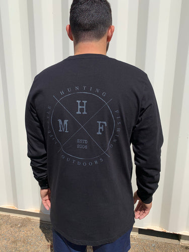 MHF LIFESTYLE LONG SLEEVE SHIRT BLACK UNISEX - S / BLACK - Mansfield Hunting & Fishing - Products to prepare for Corona Virus