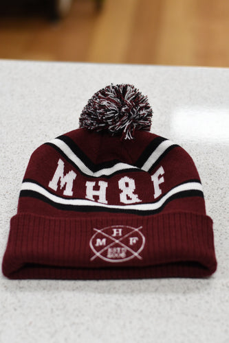 MHF BEANIE - BURGANDY/WHITE/BLACK -  - Mansfield Hunting & Fishing - Products to prepare for Corona Virus
