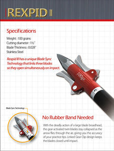 Rexpid II Broadhead 100gr - No Rubber Bands!