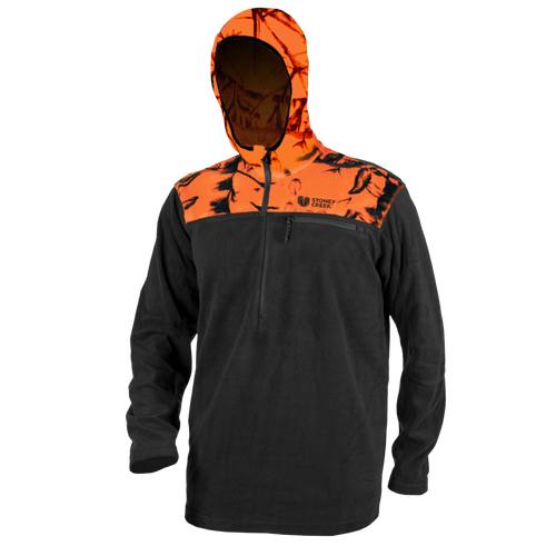 STONEY CREEK MENS MICROPLUS HOODIE - BLAZE/BLACK - S - Mansfield Hunting & Fishing - Products to prepare for Corona Virus