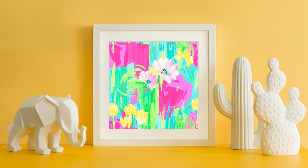 Yellow-Wall-Giselle_Floral wall art
