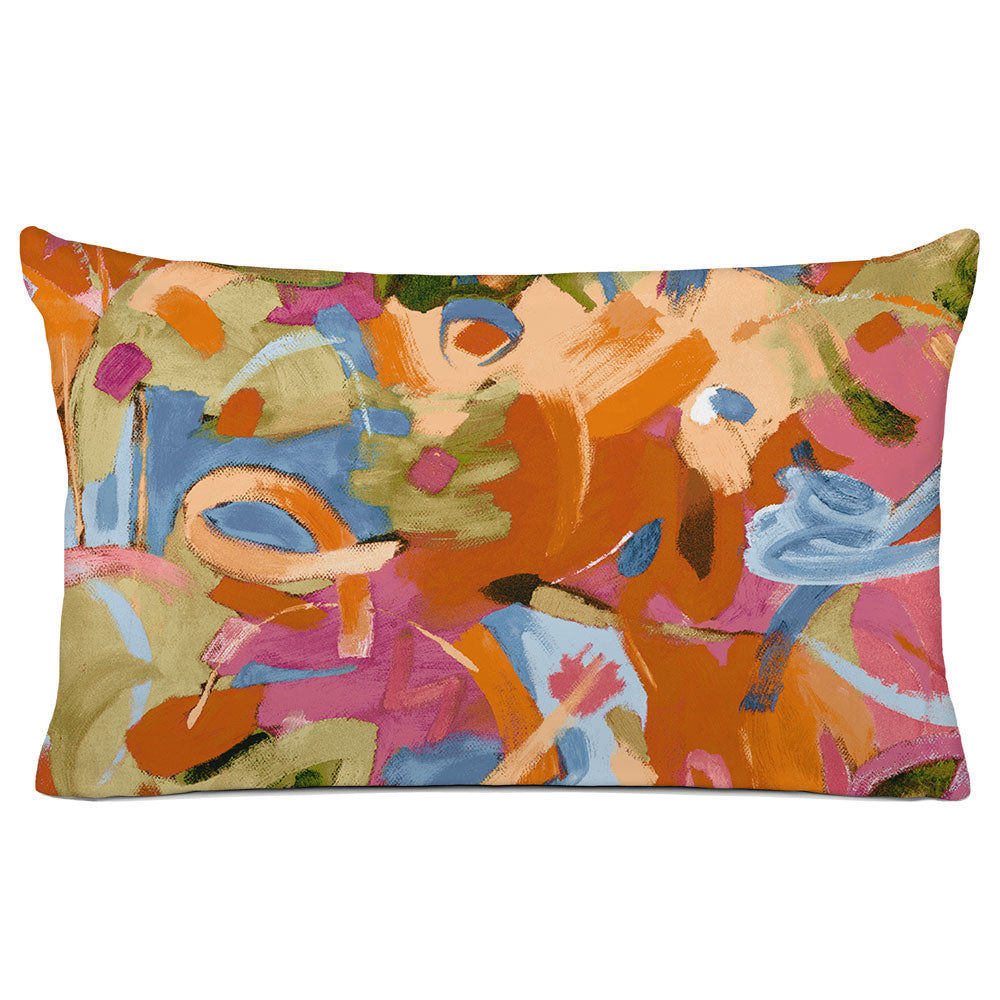 ABSTRACT PILLOW SHAM - BEDDING - BRUSHSTROKES ORANGE - GEOMETRIC DESIGN