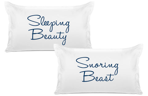Sleeping Beauty,  Snoring Beast - His & Hers Pillowcase Collection