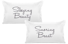 Sleeping Beauty, Snoring Beast - His & Hers Pillowcase Collection-Di Lewis