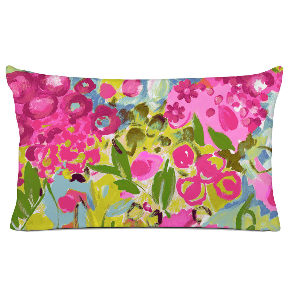 FLORAL PILLOW SHAM - BEDDING - JARDIN PINK BLUE GREEN - FLORAL DESIGN