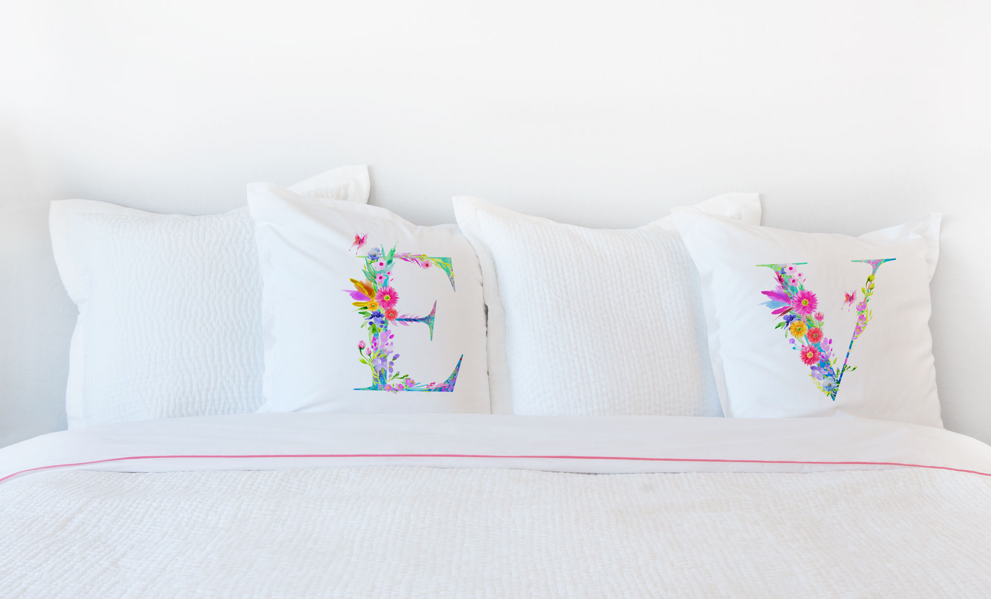 Floral Watercolor Monogram Letter V Pillowcase