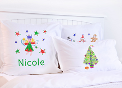 Christmas Stars Red & Green - Kids Personalized Pillowcase Collection