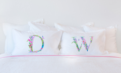 Floral Watercolor Monogram Letter D Pillowcase