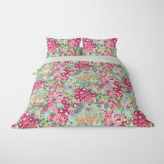 FLORAL DUVET COVERS & BEDDING SETS JARDIN PINK CORAL GREEN - FLOWER DESIGN - HYPOALLERGENIC