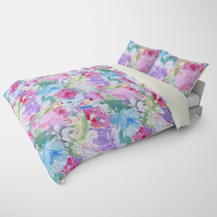 FLORAL DUVET COVERS & BEDDING SETS PRINTEMPS MAGENTA - FLOWER DESIGN - HYPOALLERGENIC