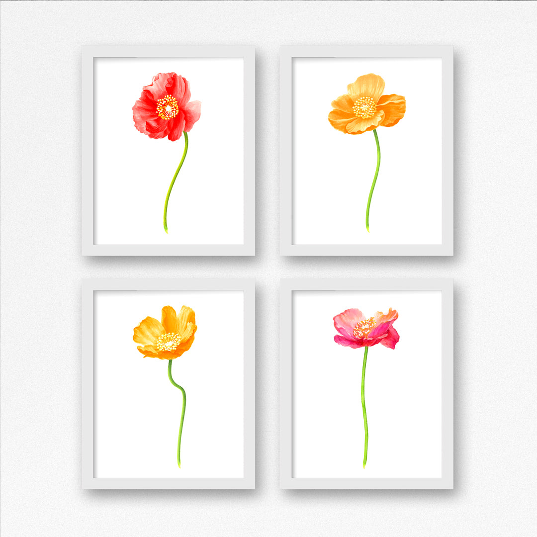 Poppy Gold Large Art Print - Floral Art Wall Decor Collection-Di Lewis