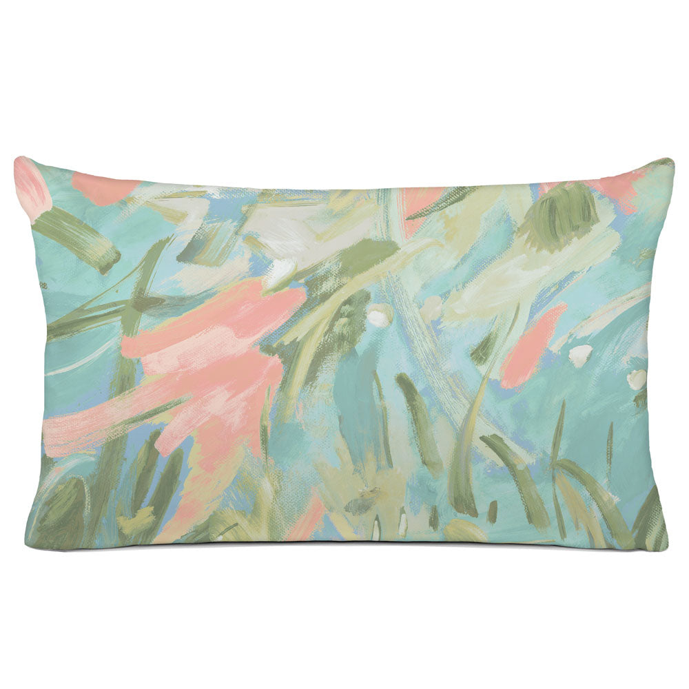 ABSTRACT PILLOW SHAM - BEDDING - CARNIVALE AQUA CORAL - GEOMETRIC DESIGN
