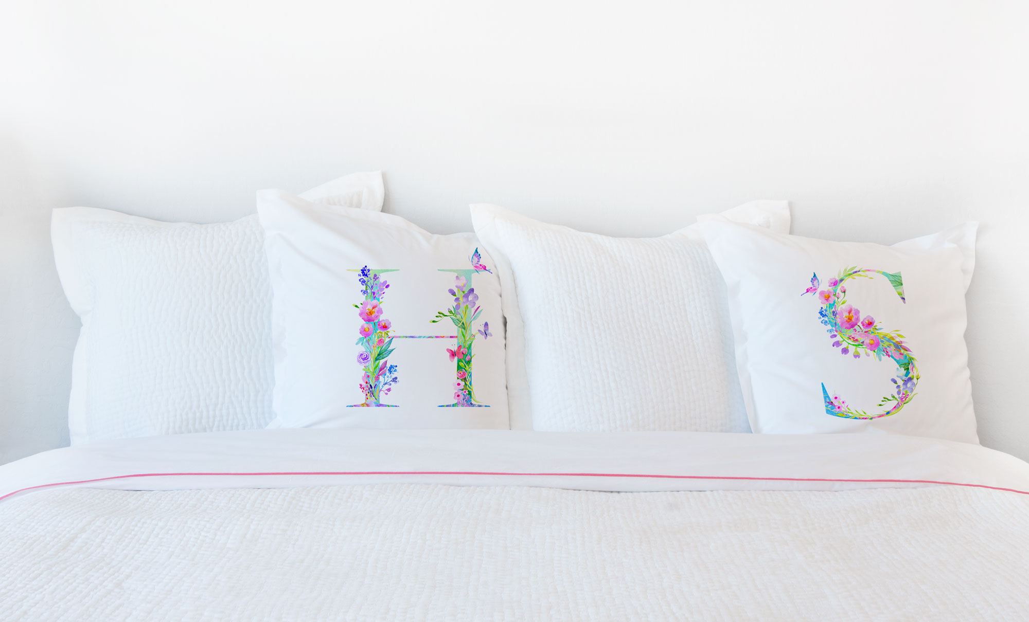 Floral Watercolor Monogram Letter H Pillowcase