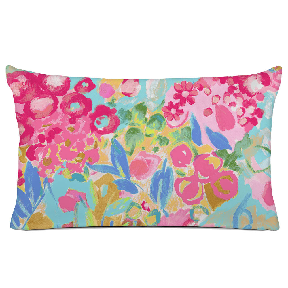 FLORAL PILLOW SHAM - BEDDING - JARDIN PINK AQUA YELLOW - FLORAL DESIGN