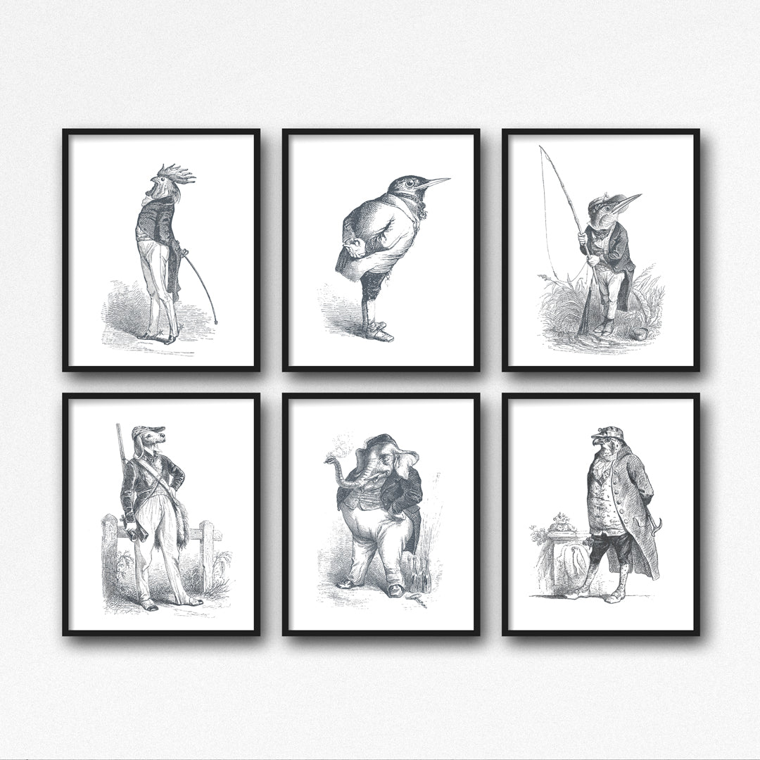 The Smoking Elephant Illustration Art Print Di Lewis Living Room Wall Decor