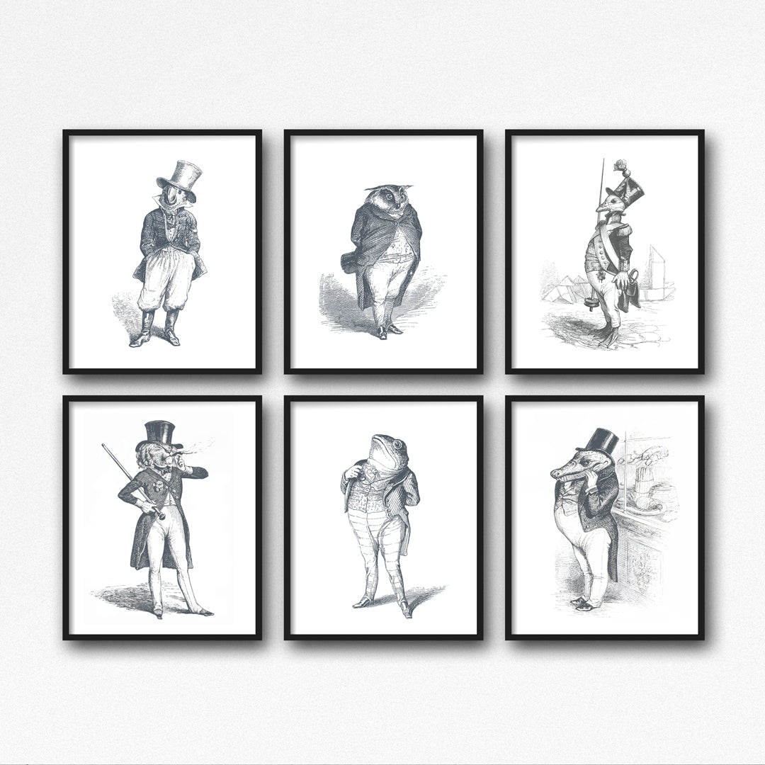 The General Art Print - Animal Illustrations Wall Art Collection-Sets of 6-Di Lewis