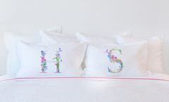 Floral Watercolor Monogram Letter S Pillowcase