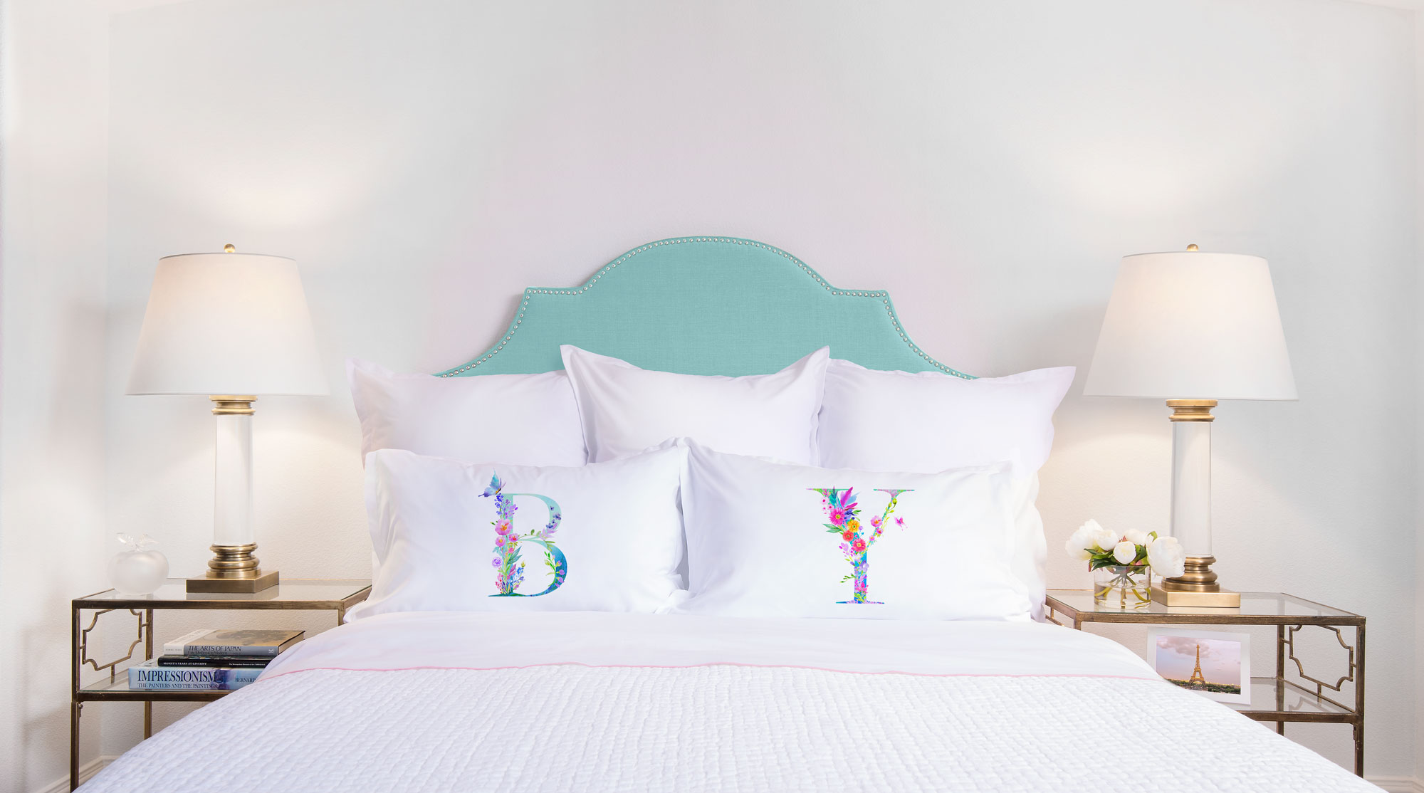 Floral Watercolor Monogram Letter B Pillowcase